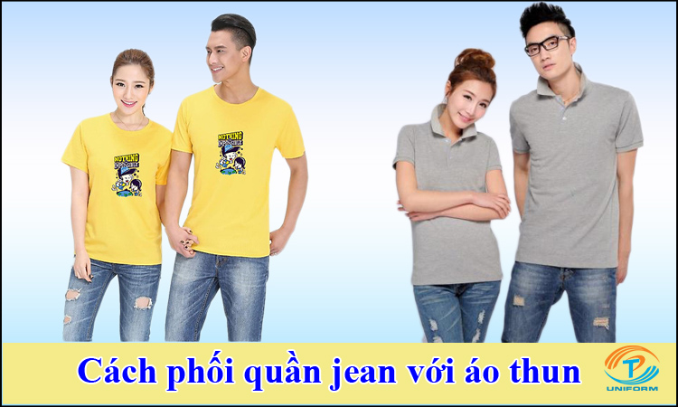 Cách phối quần jean với áo thun
